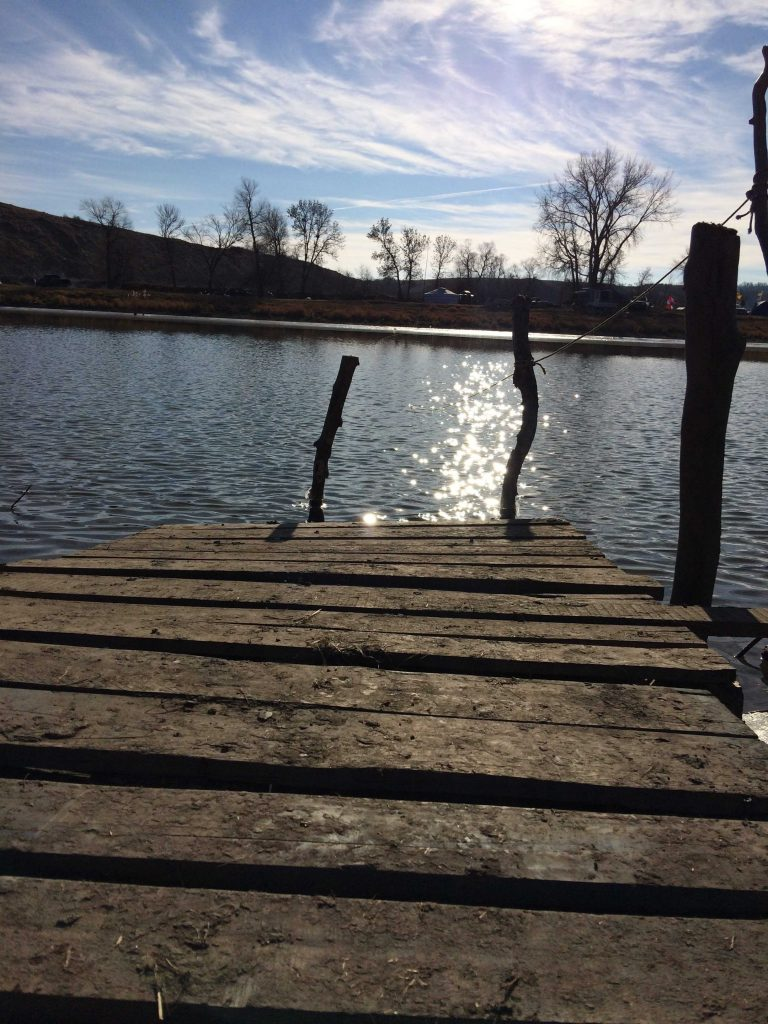 Canoe dock: A makeshift dock set up by campers for river access. Photo by Alexandrea Rager