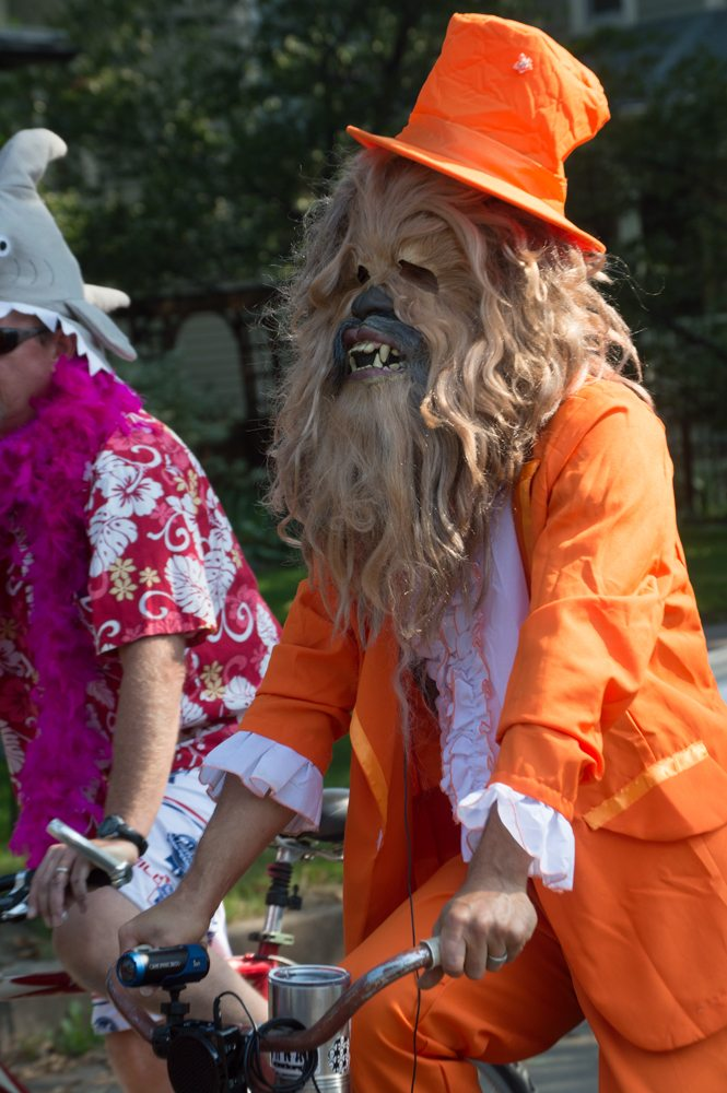 This Wookie dressed up in an orange suit to participate in the Tour de Fat parade Saturday afternoon. Photo by Olive Ancell | Collegian