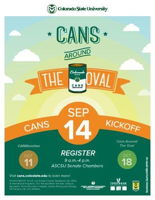 Graphic image poster of the Cans Kickoff Event