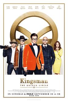 "A giant golden circle frames the poster for ""Kingsmen: The Golden Circle."""