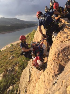 Poudre Fire Authority utilized a high-angle system with ropes and a rescue basket to rescue a hiker who fell while climbing near Horsetooth Reservoir.