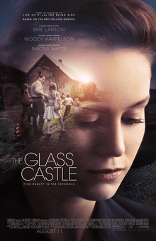 "A morose Brie Larson is juxtaposed against a house in a poster for ""The Glass Castle."""