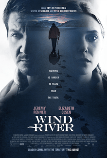 "A man with a gun walks into a snowy landscape in the poster for ""Wind River."""