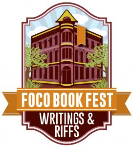 Crest of the FoCo Book Fest: Writings and Riffs, a picture of a building on a street corner so as to look like a giant book