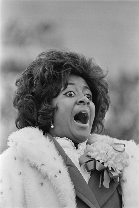 Trudi Morrison reacts as she is declared 1970 homecoming queen. Morrison was the first black and/or African-American homecoming queen at Colorado State University. (Photo courtesy of University Historic Photograph Collection)