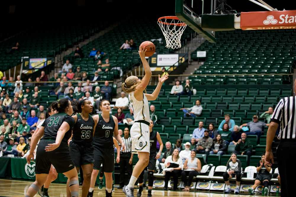 Redshirt Senior Hannah Tvrdy throwing more points onto the board for CSU. (Jordan Reyes | Collegian)