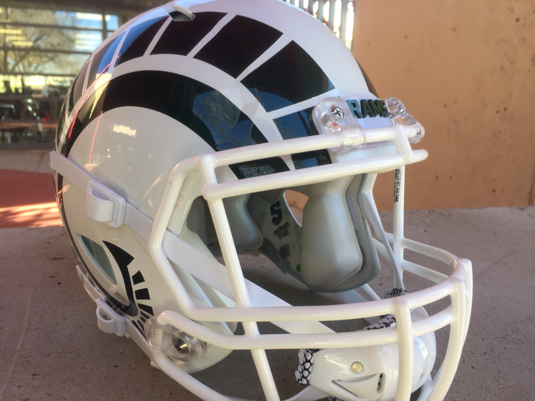 cb6fea7be Colorado State football s new white and green helmets. Photo courtesy of  Kevin Lytle.