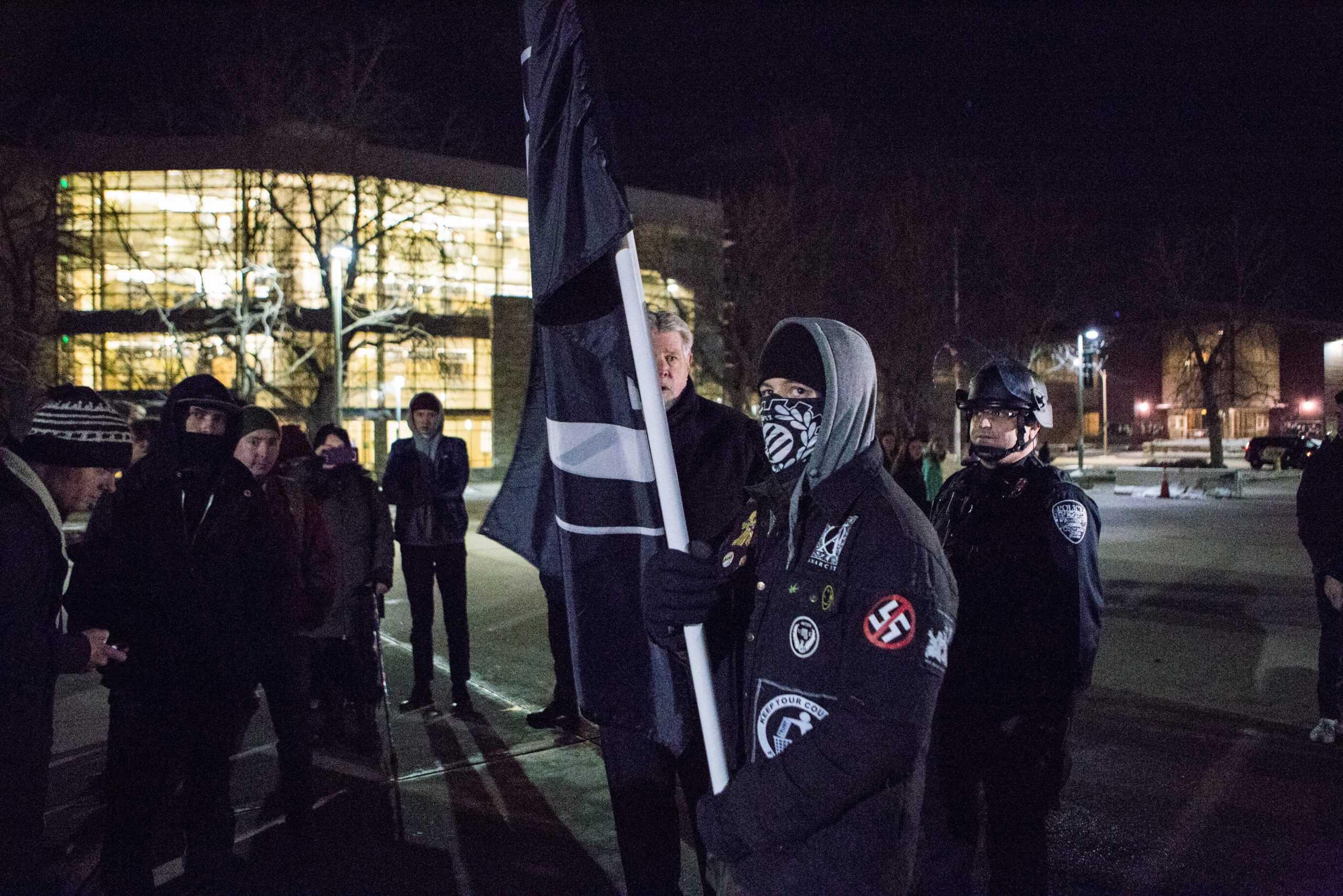 ANTIFASCIST ACTION Campus Sweatjacket Black White