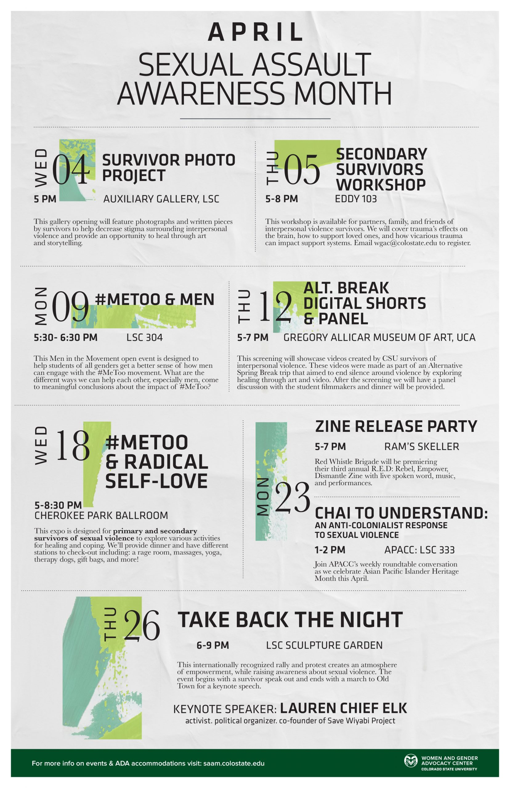 The WGAC calendar of events for Sexual Assault Awareness Month
