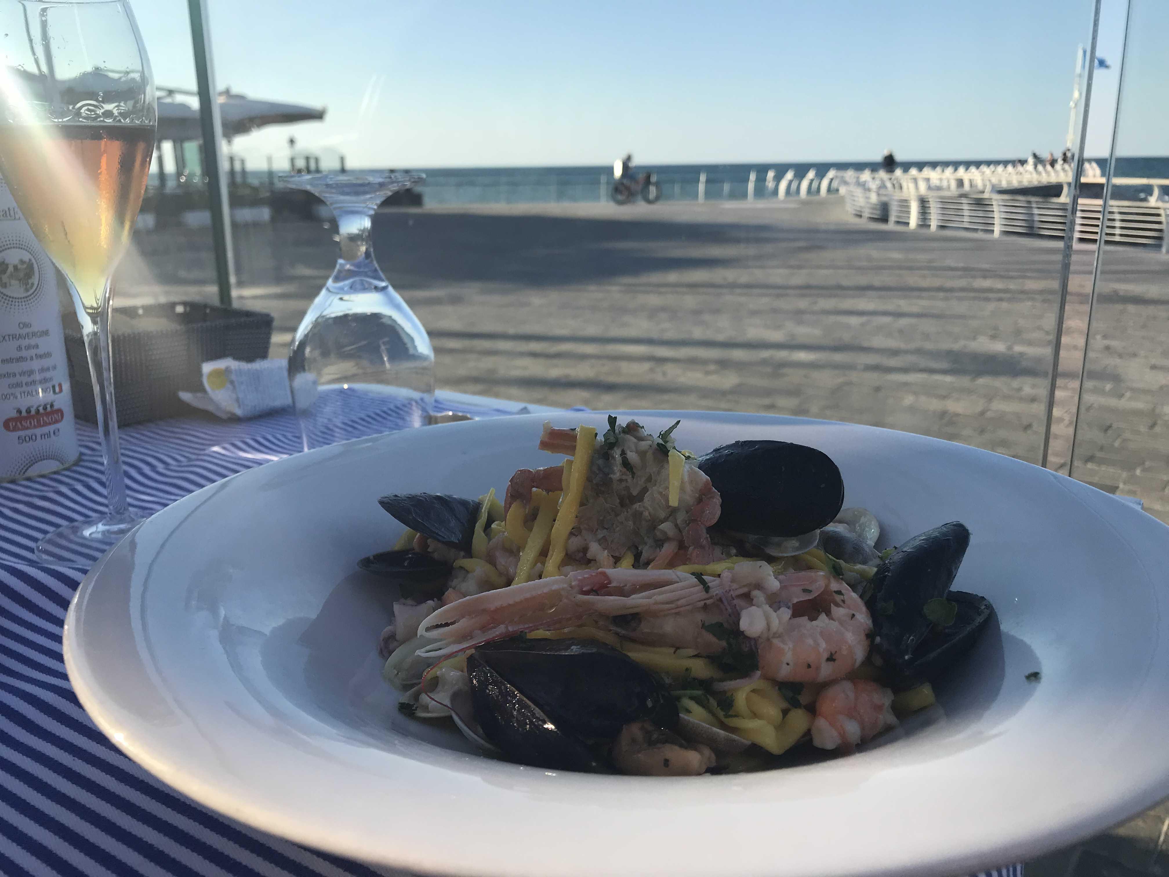 Seafood pasta meal
