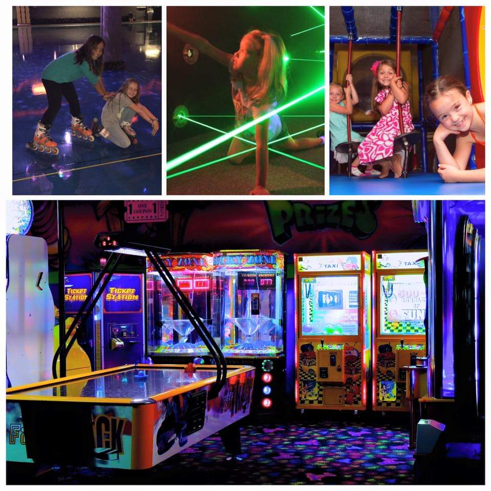 Various images of activities held at Rollerland: arcade games, lazer mazes, and a indoor jungle gym. Small children can be seen playing in the variety of areas.