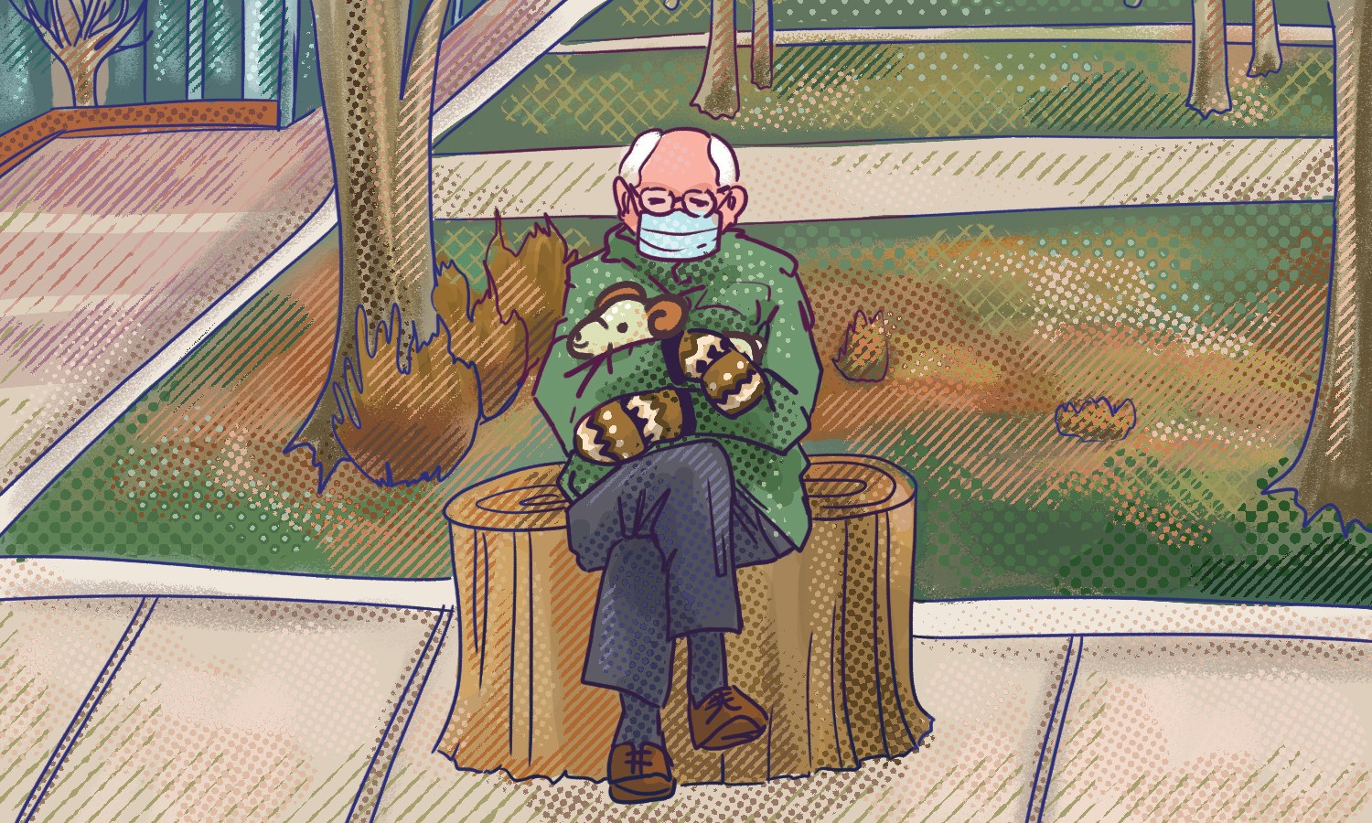 graphic illustration of Bernie Sanders wearing his mittens holding cam the ram sitting on The Stump at the Oval